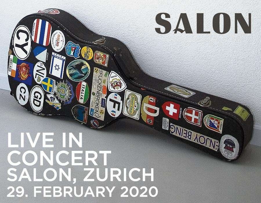 Pisani Live in Concert poster featuring his guitar and case covered in decals of countries he toured in over the years